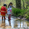 ALLEGRA BOVERMAN/Staff photo. Gloucester Daily Times. Essex: Sydney Bartlett, 4, and her brother Jackson Bartlett, 2, of Essex, stomp in a puddle while awaiting friends to arrive so they can hunt for frogs in the Cathedral Pines area on Thursday afternoon.